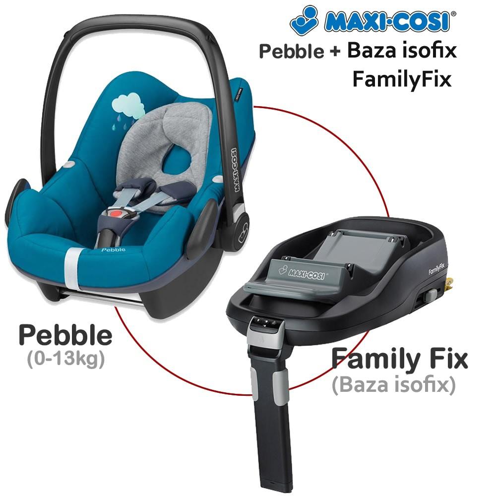 Fotoliu auto Pebble 0-13 Kg + Baza Isofix FamilyFix