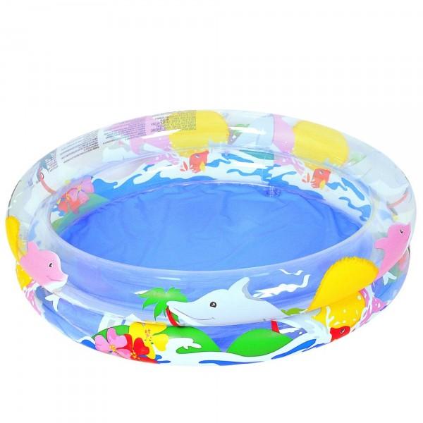 Piscina Gonflabila Transparent Sea Life Cu 2 Inele