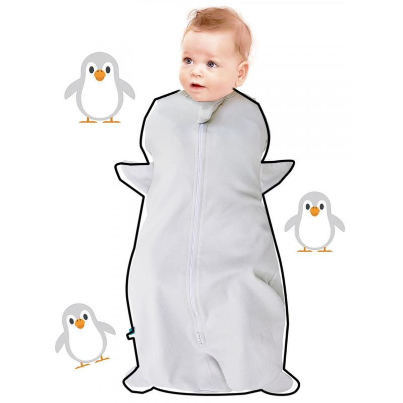 Sac de dormit Fun Animal 2in1 pinguin silver -0-3 luni